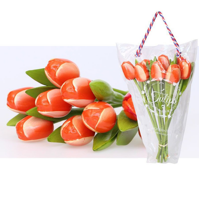 Wooden Tulips OrangeWhite - Bunch Wooden Tulips