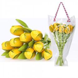 Houten Tulpen GeelGroen - Boeket Houten Tulpen