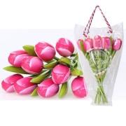 Houten Tulpen RozeWit - Boeket Houten Tulpen