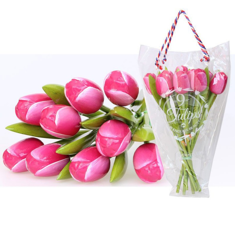 PinkWhite - Bunch Wooden Tulips