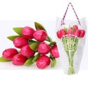 Houten Tulpen RozeRood - Boeket Houten Tulpen