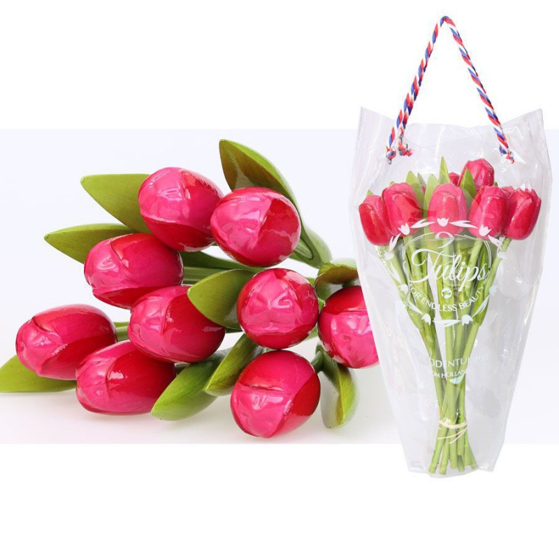 Wooden Tulips PinkRed - Bunch Wooden Tulips