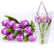 Houten Tulpen PaarsWit - Boeket Houten Tulpen
