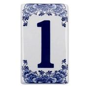 Plat Delfts Blauw Huisnummer 1 - Delfts Blauw