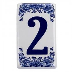 Plat Delfts Blauw Huisnummer 2 - Delfts Blauw