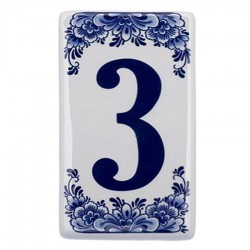 Housenumber 3 - Delft Blue