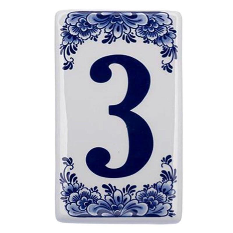 Plat Delfts Blauw Huisnummer 3 - Delfts Blauw