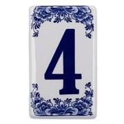 Plat Delfts Blauw Huisnummer 4 - Delfts Blauw