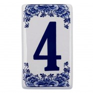 Housenumber 4 - Delft Blue