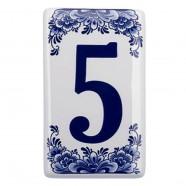 Flat Delft Blue Housenumber 5 - Delft Blue
