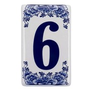 Plat Delfts Blauw Huisnummer 6 - Delfts Blauw
