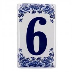 Flat Delft Blue Housenumber 6 - Delft Blue