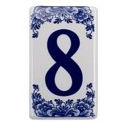 Plat Delfts Blauw Huisnummer 8 - Delfts Blauw