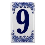 Plat Delfts Blauw Huisnummer 9 - Delfts Blauw