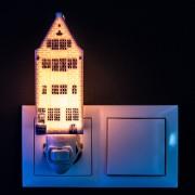 Nachtlampje - Wandlampje Grachtenhuis 1 - Delfts Blauw - Nachtlampje