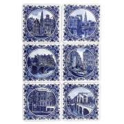 Coasters Delft Blue Amsterdam - Coasters - set of 6