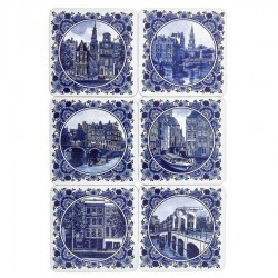 Delft Blue Amsterdam - Onderzetters - 6 assorti