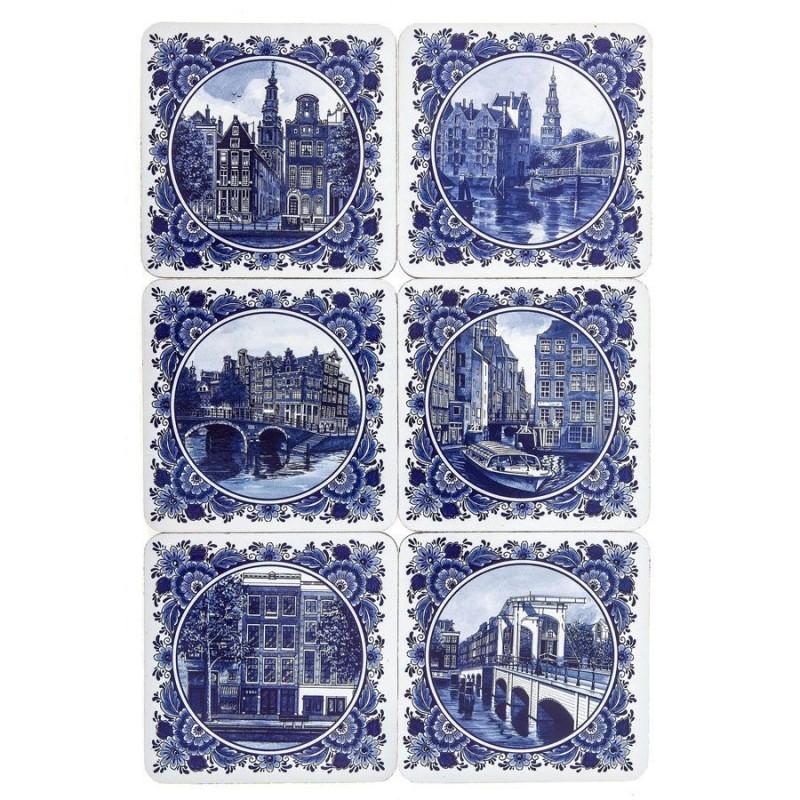 Onderzetters Delft Blue Amsterdam - Onderzetters - 6 assorti