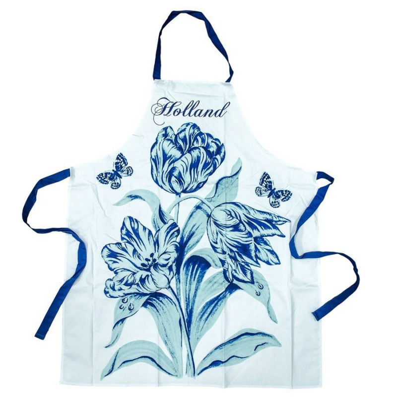 Kitchen Apron - Delft Blue Tulips