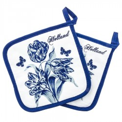 Potholder - Delft Blue Tulips
