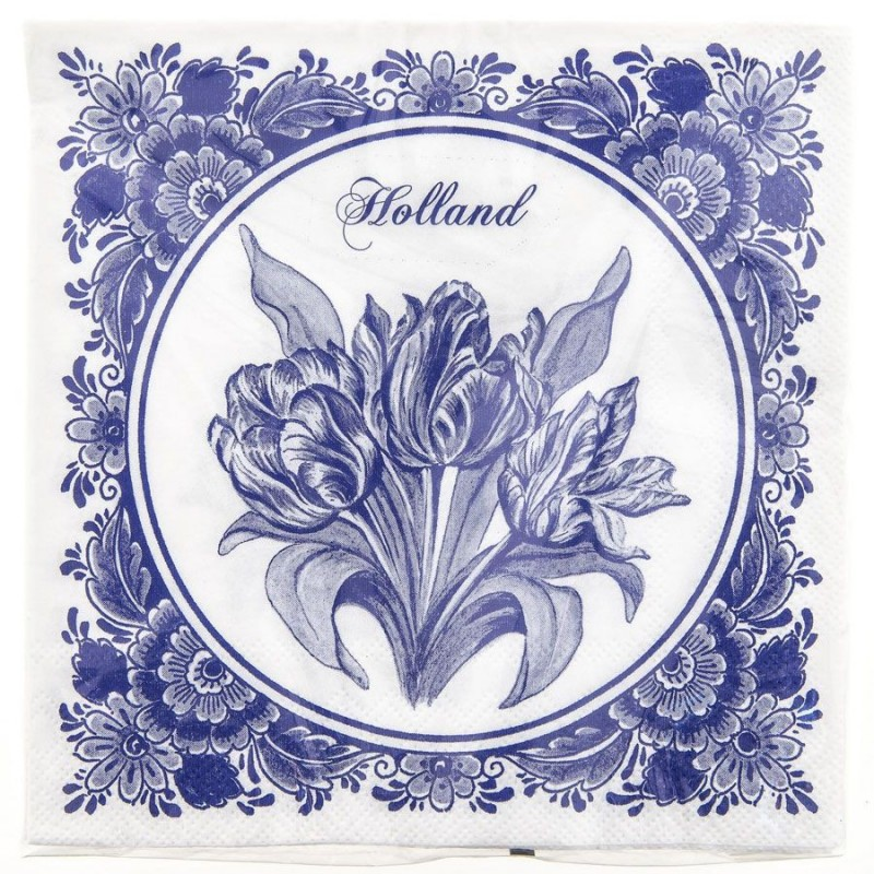 Servetten en Servethouders Tulpen Servetten - Delfts Blauw