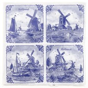 Napkins and Napkin Holders Windmills 4x Napkins - Delft Blue