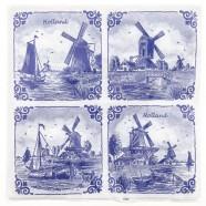 Napkins and Napkin Holders Windmills 4x Napkins - Delft Blue