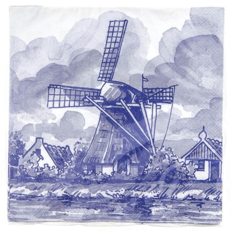 Windmill Napkins - Delft Blue
