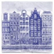 Servetten en Servethouders Grachtenhuizen Servetten - Delfts Blauw