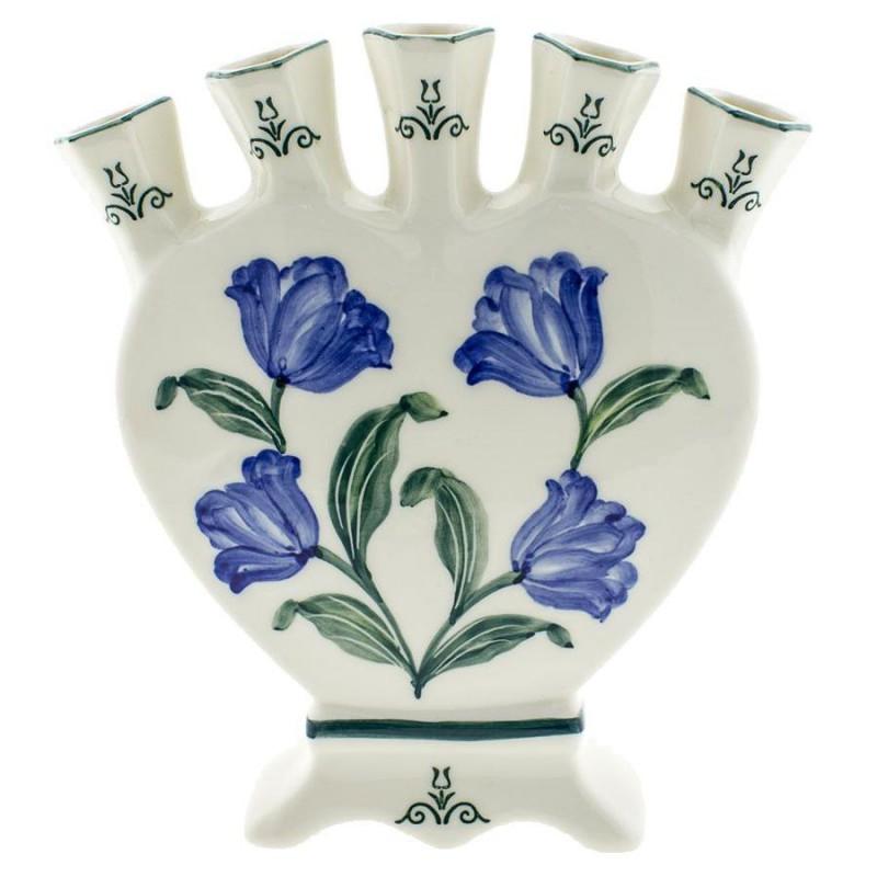 Tulip Blue Green - Heart Tulip Vase 18cm