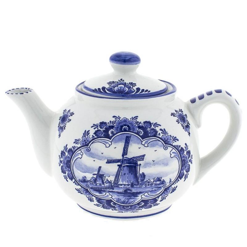 Serviesgoed Theepot - Molen Delfts Blauw