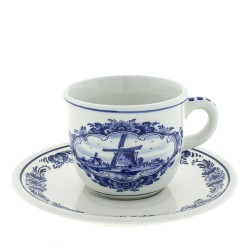Cup and Saucer - Windmill Delft Blue