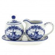 Cream and Sugar set - Windmill Delft Blue