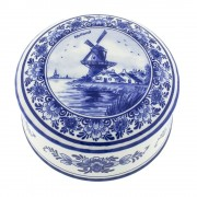 Pots Jars and Boxes Box Windmill Round - 11cm Delft Blue