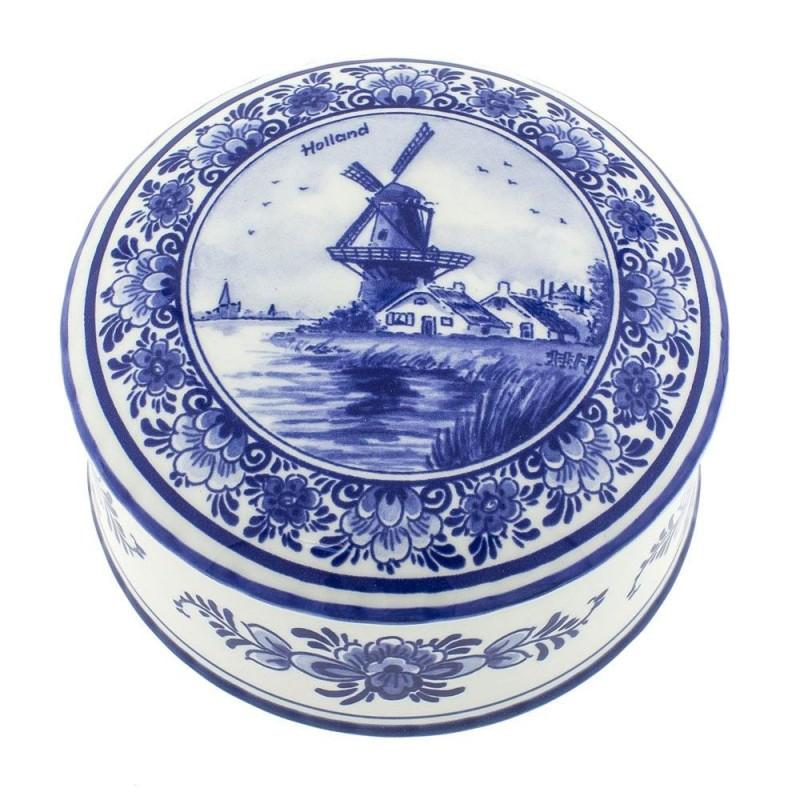 Pots Jars and Boxes Box Windmill Round - 11cm Delft Blue