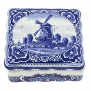 Pots Jars and Boxes Box Windmill - 11 x 10cm Delft Blue