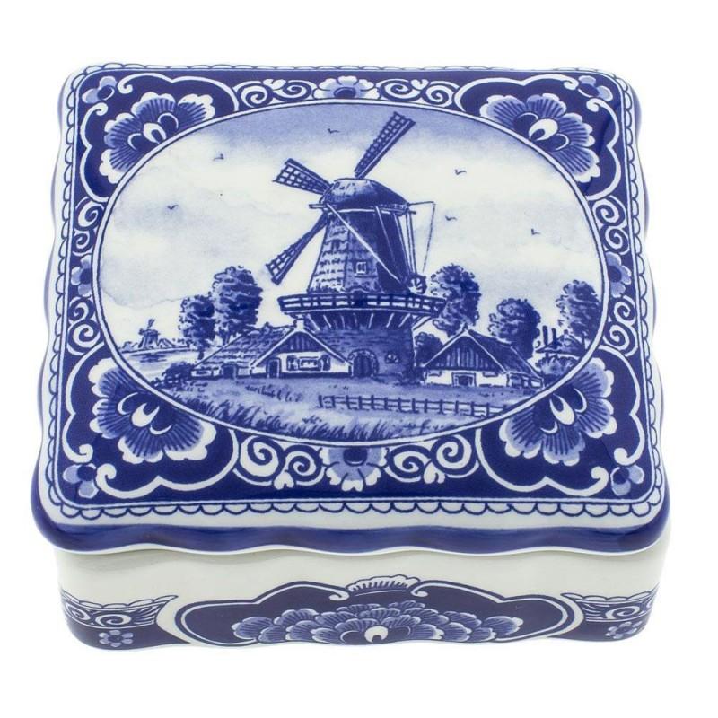 Pots Jars and Boxes Box Windmill - 11 x 10cm Delft Blue