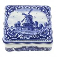 Potten en Doosjes Doosje Molen - 11 x 10cm Delfts Blauw