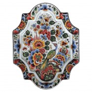 Applique - Wall Plates Applique Flowers Peacock  Polychrome - Medium Vertical 22 x 29 cm