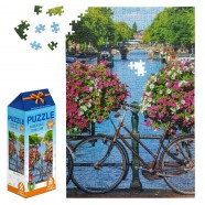 Kleurrijke Amsterdamse Gracht - 500 stukjes Legpuzzel