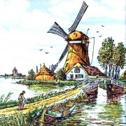 Gekleurd Keramiek Boeren Landweg - Tegel 15x15 cm - Poly
