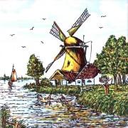 Gekleurd Keramiek Boer met Zeis- Tegel 15x15 cm - Poly