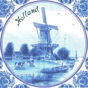 Servetten en Servethouders Windmolen Holland Servetten - Delfts Blauw