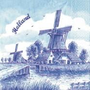 Windmill Holland Napkins - Delft Blue