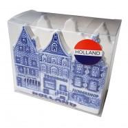 Servettenhouder Grachtenhuisjes - Delfts Blauw