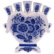 Flowers Delft Blue - Heart Tulip Vase 16cm