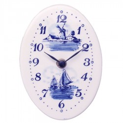 Wall Clock Oval - Delft Blue 15cm