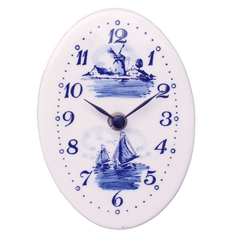 Clocks Wall Clock Oval - Delft Blue 15cm