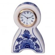 Miniature Mantel Clock Flowers 10cm - Delft Blue