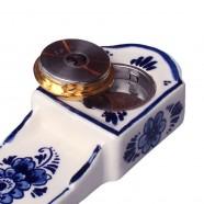 Miniature Pendulum Clock Flowers 5x11 cm - Delft Blue